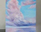 "18x24"" Original Oil Painting - Giant Fluffy Cotton Candy Clouds Ocean Seascape - Large Canvas Wall Art"