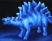 "5x7"" Mini Original Oil Painting - Dinosaur Stegosaurus Wall Art Gift for Boys Jurassic Park Enthusiast Amateur Paleontologist"