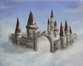 "6x6"" Mini Painting, Original Oil Painting - Castle in the Clouds, Fantasy Landscape Canvas Wall Art"