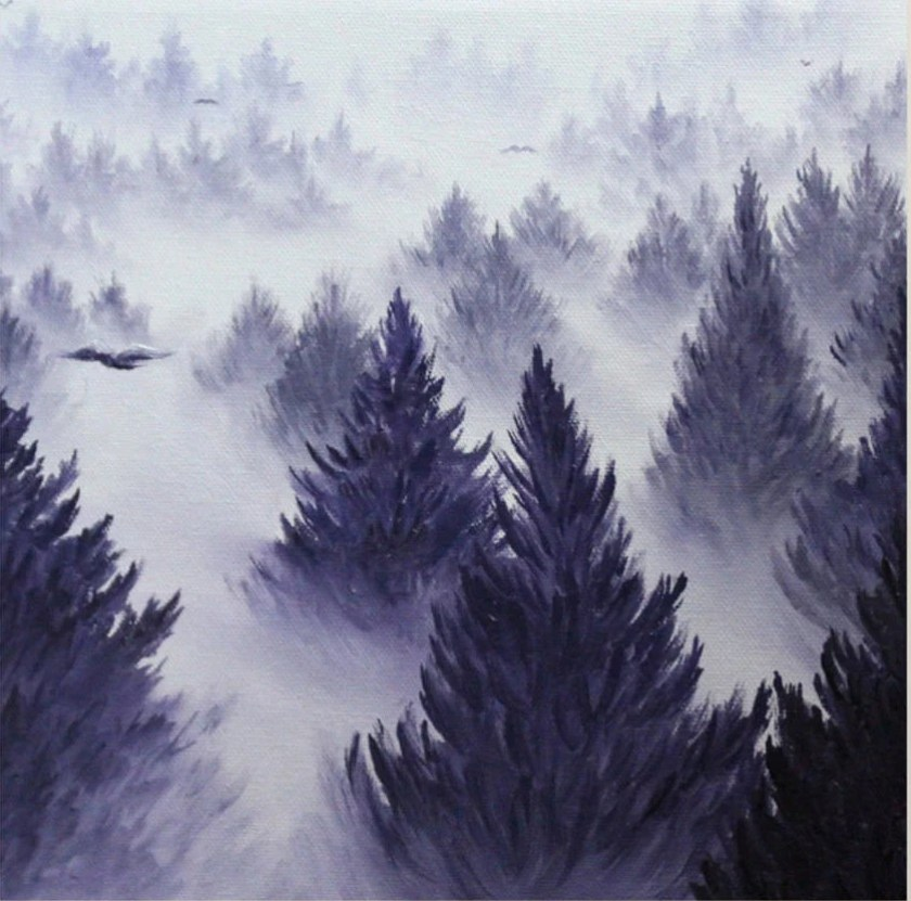 "10x10"" Original Oil Painting - Foggy Forest Wall Art"