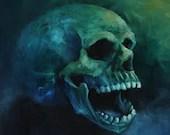 "10x10"" Original Oil Painting - Laughing Human Skull Painting - Dark Art - Horror Macabre Halloween Decor Wall Art Gift for Men"