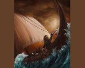 "12x16"" Original Oil Painting - Viking Longboat Dwarves Fantasy Ocean Waves Brown Orange Sunset Sky -  Seascape Wall Art"