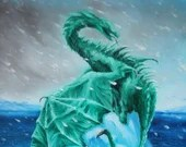 "12x16"" Original Oil Painting - Coolbreeze Snowy Emerald Dragon on Iceberg -  Fantasy Wall Art"
