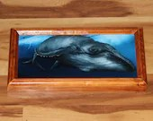 "6x12"" Original Oil Painting - Blue Gray Humpback Whale Scary Dark Art - Underwater Seacreature Oceanlife Wall Art"