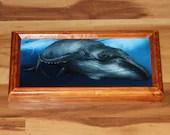 "6x12"" Original Oil Painting - Blue Gray Humpback Whale Scary Dark Art - Underwater Seacreature Oceanlife Wall Art"