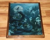 "16x20"" Original Oil Painting - Mermaid Queen Jellyfish Fish Underwater Coral Ocean Dark Blue Green - Fantasy Wall Art"