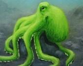 "6x6"" Framed Original Mini Painting, Oil Painting - Lime Octopus Seacreature Wall Art"