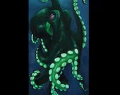 "10x20"" Original Oil Painting - Green Octopus Cephalopod - Underwater Seacreature Oceanlife Wall Art"