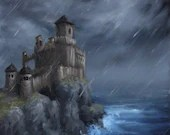 "8x10"" Original Oil Painting - Stormy Rainy Seaside Castle Fortress - Landscape Wall Art"