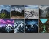 "3x4"", 4x4"" Magnet Mountain Mountains Cliffs Landscape Art Print Refrigerator Thin Flat Square Magnet Stocking Stuffers"
