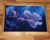 "12x16"" Original Oil Painting - Mermaid Girl Pretty Betta Fish Pink Blue Underwater Ocean Sea - Fantasy Wall Art"