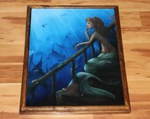 "16x20"" Original Oil Painting - Wistful Lonely Mermaid Fish Underwater Shipwreck Ships Ocean Dark Blue Green - Fantasy Wall Art"