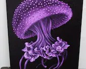 "12x16"" Original Oil Painting - Spotted Jellyfish Seacreature Seascape Oceanlife Wall Art"