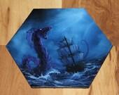 "5-6"" Original Mini Oil Painting Hexagon Flat Panel - Purple Blue Sea Monster Serpent Snake Ship Boat Ocean Seascape - Small Canvas Wall Art"