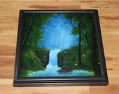 "12x12"" Original Oil Painting - Blue Green Firefly Fireflies Waterfall Forest Grove - Enchanted Forest Landscape Wall Art"