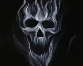 "12x16"" Original Oil Painting - Smoke Smoky Mist Skull Painting - Dark Art - Macabre Halloween Decor Wall Art Gift for Men"