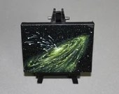 "Original Mini Painting - (3x4"") Deep Space Dark Green Galaxy Nebula Shining Stars Starry - Oil Painting on Easel - Dollhouse Painting"