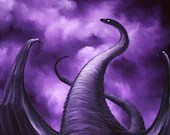 "16x16"" Original Oil Painting - Looming Dragon Purple Stormy Clouds - Fantasy Wall Art"