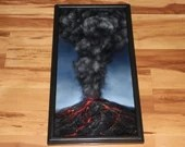 "12x24"" Original Oil Painting - Mountain Volcano Eruption Explosion Lava Magma Smoke - Landscape Wall Art"