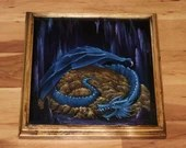 "12x12"" Original Oil Painting - Blue Dragon's Horde Lair Enchanted Cave Gold - Fantasy Canvas Painting Wall Art"