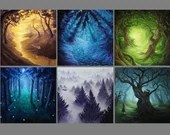 "4x4"" Magnet Forest Enchanted Trees Dark Woods Fantasy Art Print Refrigerator Thin Flat Square Magnet"