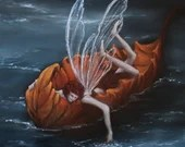 "10x10"" Original Oil Painting - River Fairy Faerie Fae Pixie Floating on Leaf - Wall Art"