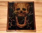 "16x20"" Original Oil Painting - Tree Monster Skull Painting - Dark Art - Horror Macabre Halloween Decor Wall Art Gift for Men"