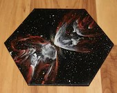 """5-6"""" Original Mini Oil Painting Hexagon Flat Panel - Butterfly Nebula Galaxy Deep Outer Space Starry Spacescape - Small Canvas Wall Art"""