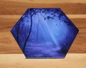 "5-6"" Original Mini Oil Painting Hexagon Flat Panel - Blue Nighttime Night Evening Forest Landscape - Small Canvas Wall Art"