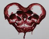 "12x16"" Original Oil Painting - Skull Bloody Love Painting - Dark Art - Macabre Halloween Decor Wall Art Couples Gift"