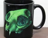 11oz Art Mug - Fine Art Printed on Ceramic Mug - Green Cat Skull Mug - Unique Gift