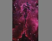 "10x20"" Original Oil Painting - Black Pillar Eagle Nebula Painting - Outer Space Astronomy Galaxy Stars Starry Wall Art"