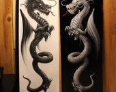 """RESERVED COMMISSION - TWO 12x36"""" Original Oil Paintings - Dual Yin Yang Dragons Black White Chinese Asian Flying Fantasy Dragon Art"""