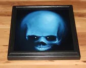 "10x10"" Original Oil Painting - Creepy Spooky Blue Black Evil Dark Skull Painting -  Macabre Gothic Halloween Decor Wall Art Gift for Men"