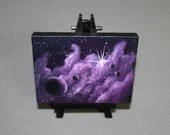 "Original Mini Painting - (3x4"") Deep Space Purple Nebula Planets Galaxy Shining Stars Starry - Oil Painting on Easel - Dollhouse Painting"