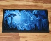 """12x24"""" Original Oil Painting - Blue Fairy Mushroom Forest Fae Faerie Fantasy Creatures Enchanted Forest - Fantasy Wall Art"""
