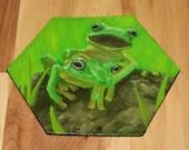 "5-6"" Original Mini Oil Painting Hexagon Flat Panel - Green Frog Friends Frogs Treefrog Treefrogs Animals Animal  - Small Canvas Wall Art"