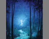 "RESERVED - 12x16"" Original Oil Painting - Enchanted Dark Forest Spirit Ghost Girl Will o the Wisp -  Landscape Wall Art"