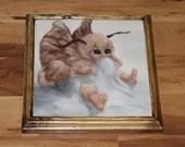 "10x10"" Original Oil Painting - Baby Moth Fairy Faerie Fae Pixie - Fantasy Wall Art"