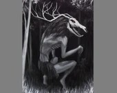 "12x16"" Original Oil Painting - Black White Wendigo Evil Woods Forest Spirit - Spooky Horror Macabre Enchanted Forest Landscape Wall Art"