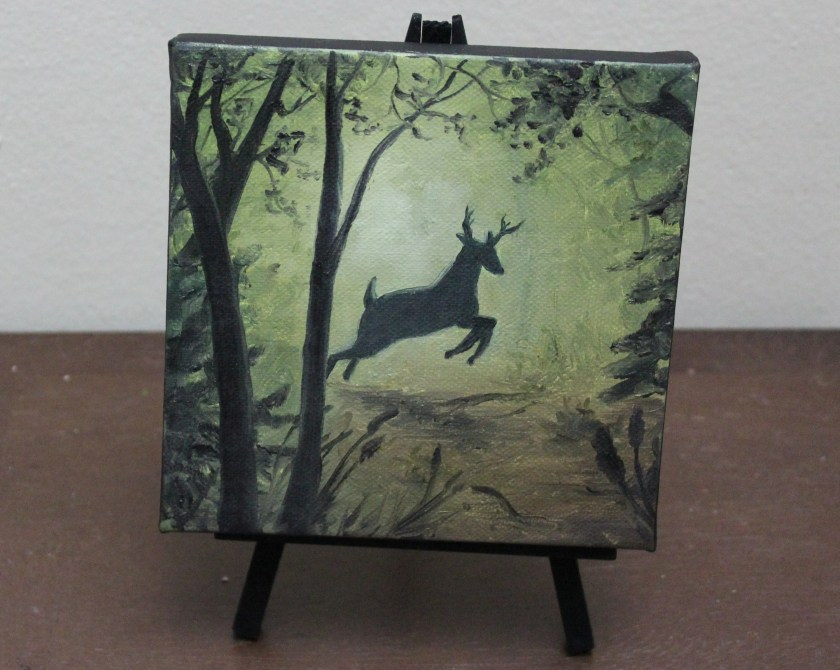 "6x6"" Mini Painting, Original Oil Painting - Landscape Forest Deer Canvas Wall Art"