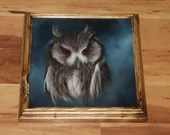 "10x10"" Original Oil Painting - Southern White-Faced Owl American Owl Painting -  Bird Ornithology Animal Wall Art"