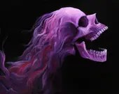 "12x16"" Original Oil Painting - Hard Rock Metal Rocker Hair Screaming Pink Skull Painting - Macabre Halloween Decor Wall Art"