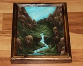 "8x10"" Original Oil Painting - Waterfall Blue Green Mountain Valley - Small Landscape Wall Art"