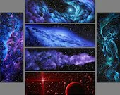 "2x6"" Magnet Space Outer Space Nebula Galaxy Deep Space Art Print Refrigerator Thin Flat Square Magnet"