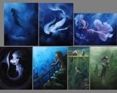 "2x4-4x4"" Magnet Mermaid Siren Shark Shipwreck Sea Ocean Oceanlife Underwater Fantasy Art Print Refrigerator Square Magnet Stocking Stuffers"