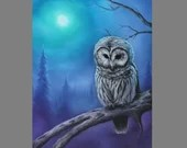 "16x20"" Original Oil Painting - Blue Green Purple White Night Owl Moon Foggy Trees - Bird Ornithology Animal Wall Art"