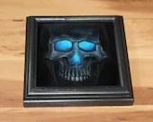 "6x6"" Original Oil Painting - Glowing Eyes Glow Mini Skull Painting - Dark Macabre Halloween Decor Wall Art Gift for Men"