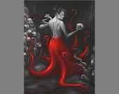 "Art PRINT - Evil Sea Witch Octopus Mermaid Ocean Dark Macabre Horror Skull - Fantasy Wall Art - Choose Size 4x6"" 5x7"" 8x10"" 12x16"" PRINTS"