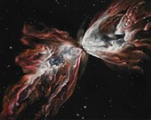 """16x20"""" Original Oil Painting - Butterfly Nebula - Outer Space Galaxy Astronomy Wall Art"""